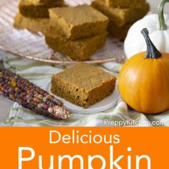 stacked pieces of pumpkin cornbread on a wire cooling rack