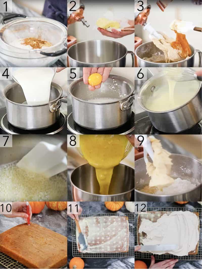 A photo showing steps on how to make a pumpkin poke cake.