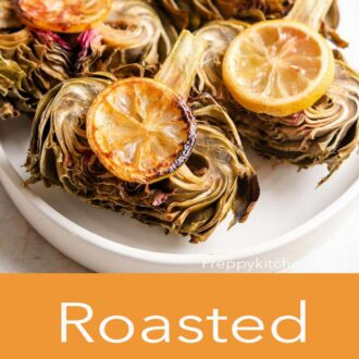 A pinterest graphic of roasted artichokes