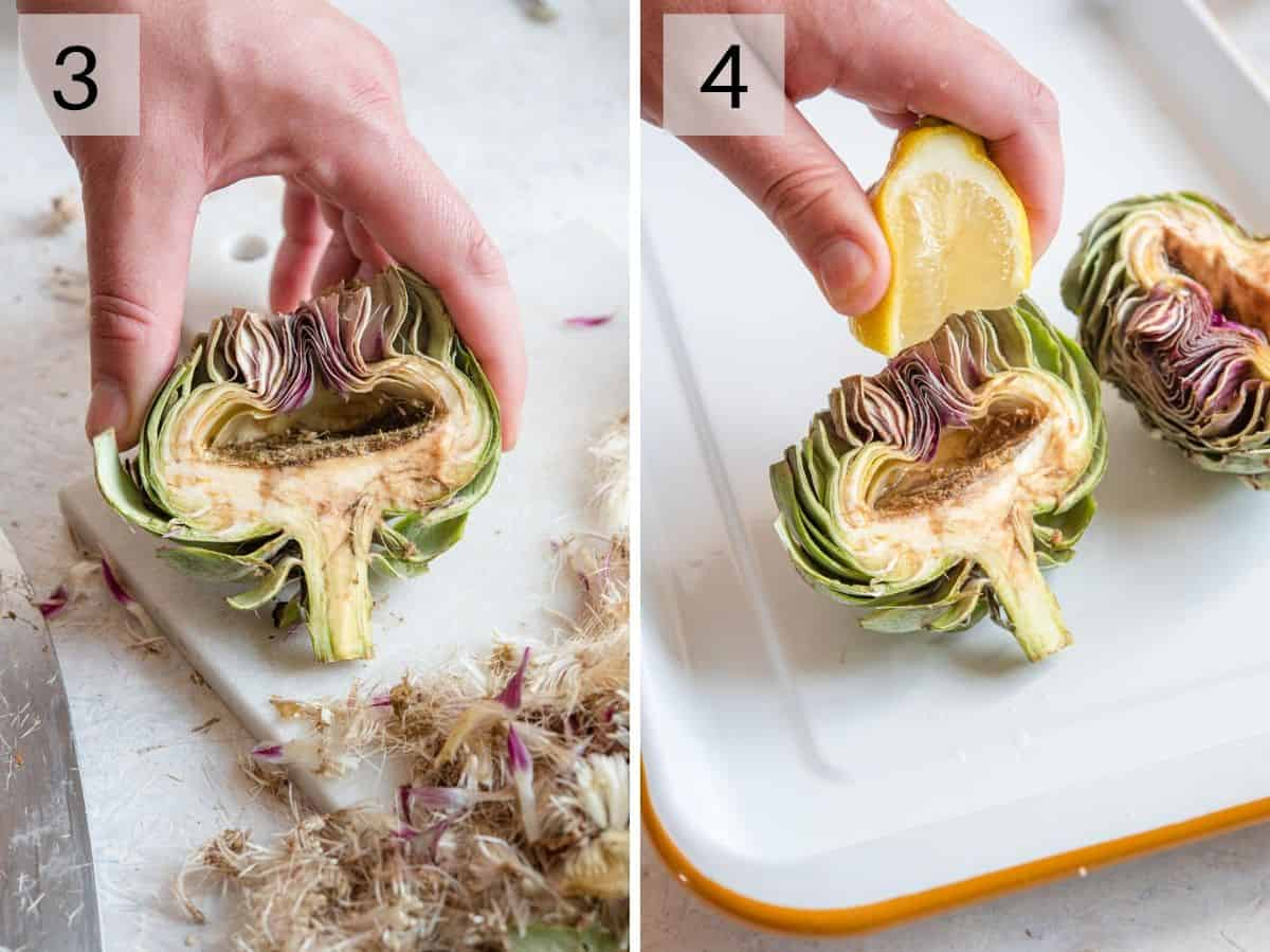 Two photos showing how to remove the choke and drizzle artichokes with lemon juice