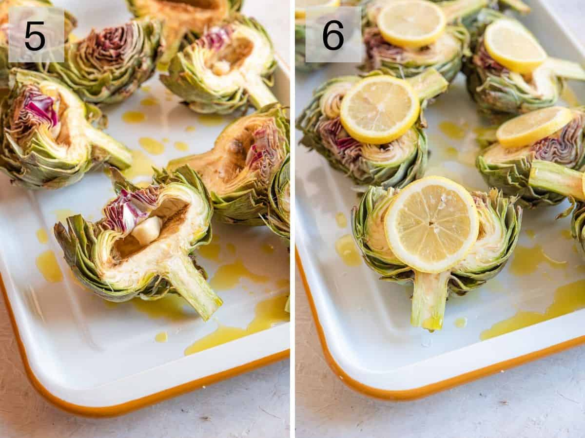 Two photos showing how to prepare artichokes for roasting