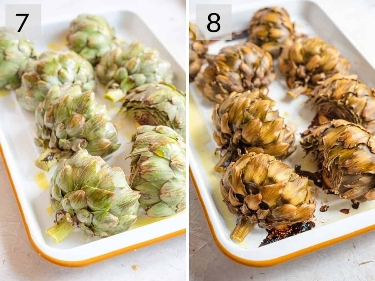 Two photos showing before and after roasting
