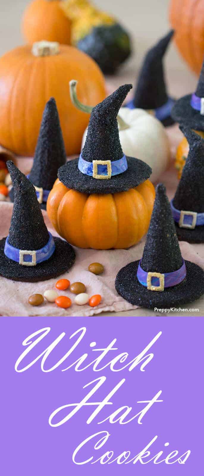 These witch hat cookies are the perfect treat for Halloween! The bases are delicious chocolate sugar cookies while an ice cream cone is used for the top. Inside they're filled with candy for an extra surprise!