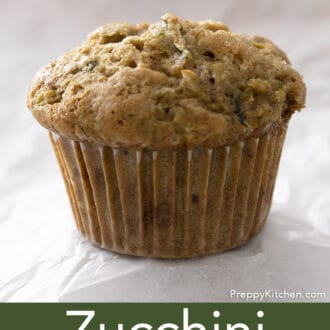 Zucchini muffin on white background