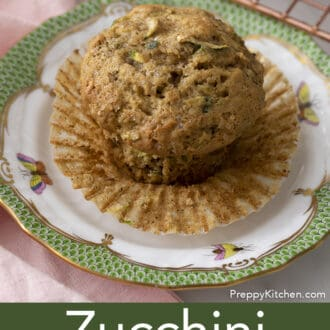 Zucchini muffin on a plate