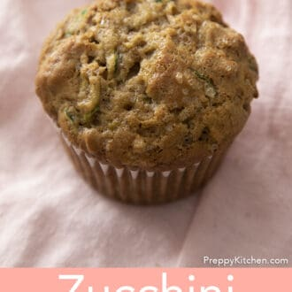 Zucchini muffin on pink napkin