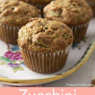 Zucchini muffins on tray