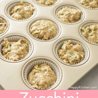 uncooked Zucchini muffins in muffin pan