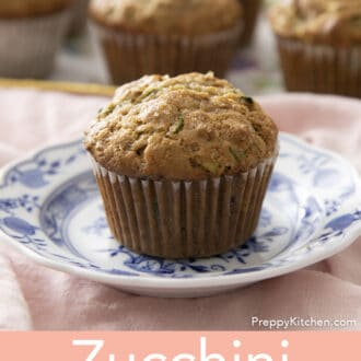Zucchini muffin on blue and white plate