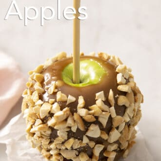 A peanut covered caramel apple.