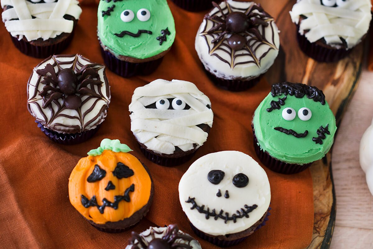 photo of Halloween Cupcakes on a dark orange linen