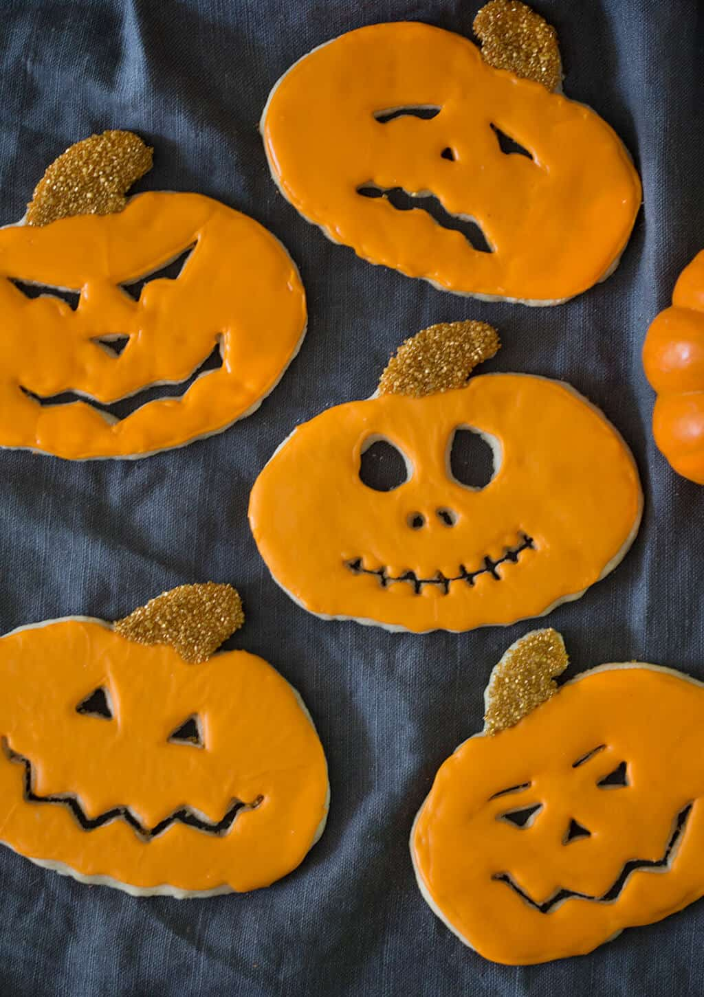 A photo of Jack-O-Lantern Cookies.