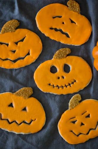 A photo of Jack-O-Lantern Cookies.