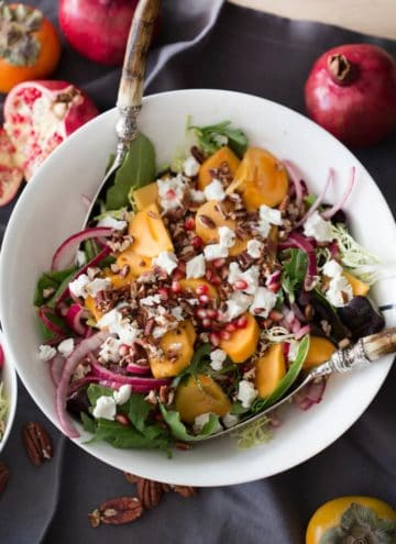 Photo showing a large bowl filled with Persimmon Salad