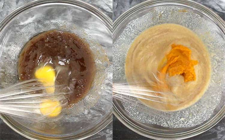 two photos showing the wet ingredients for pumpkin cornbread getting mixed together.