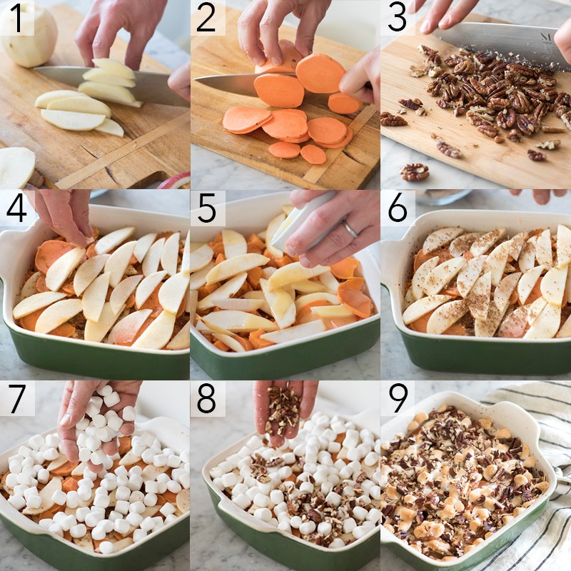 A photo collage showing the steps to make a sweet potato casserole
