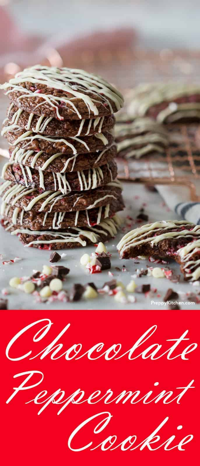 These delicious chocolate cookies with white chocolate drizzle and crushed peppermint are the perfect way to spread holiday cheer!