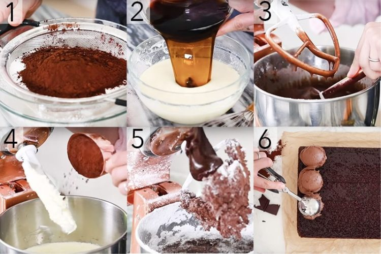 A photo showing steps on how to make a chocolate sheet cake.