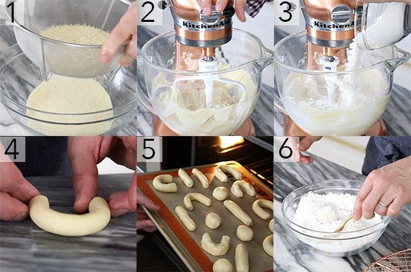 A photo grid showing the steps to make Mexican Wedding Cookies