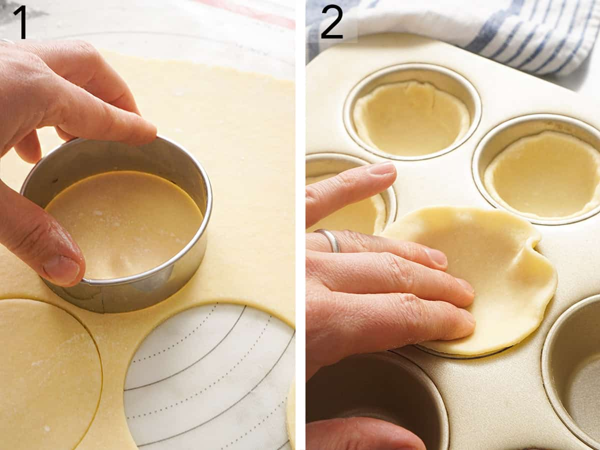 Pie dough getting cut into circles and placed in muffin tin wells.