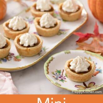 Mini pumpkin pies on porcelain serving ware.