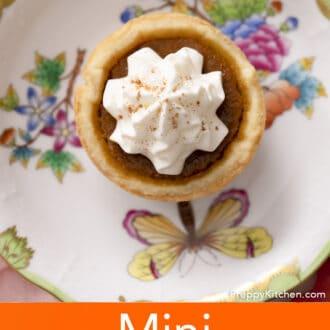 A mini pumpkin pie on a porcelain plate.