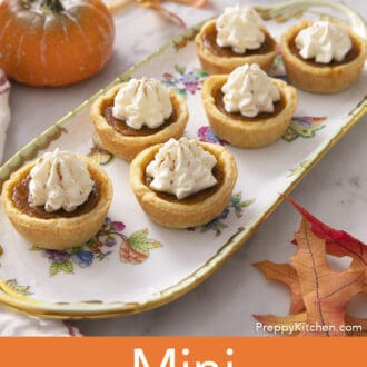 Mini pumpkin pies on porcelain tray