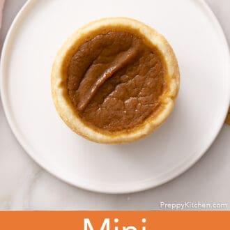 A mini pumpkin pie on a white plate.