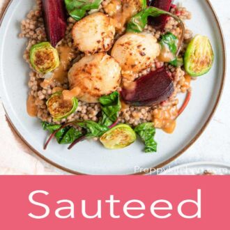 A pinterest graphic of sauteed scallops with cous cous