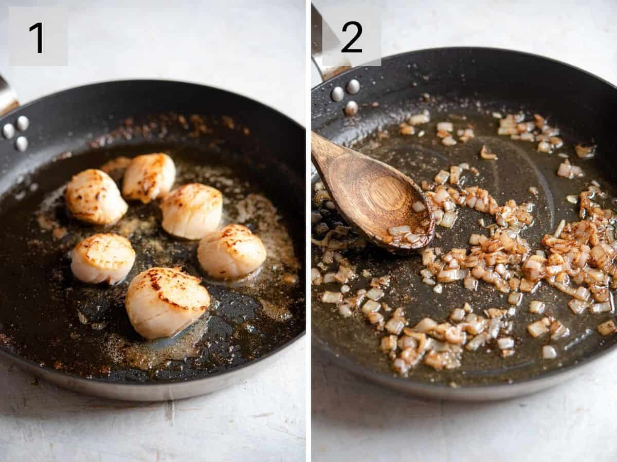 Two photos showing how to make sauteed scallops and sauce
