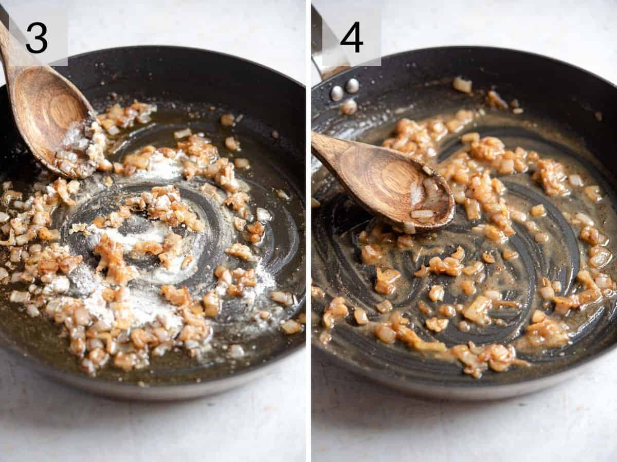 Two photos showing how to make a roux for a thick sauce
