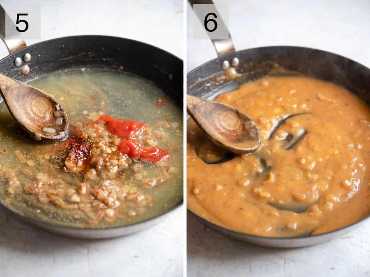 Two photos showing how to make a sauce for sauteed scallops