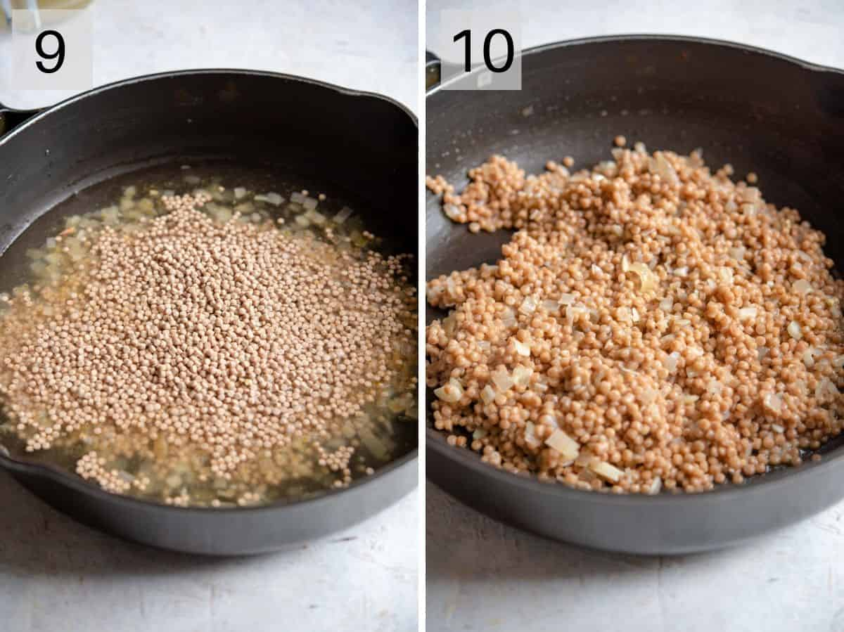 Two photos showing how to prepare cous cous
