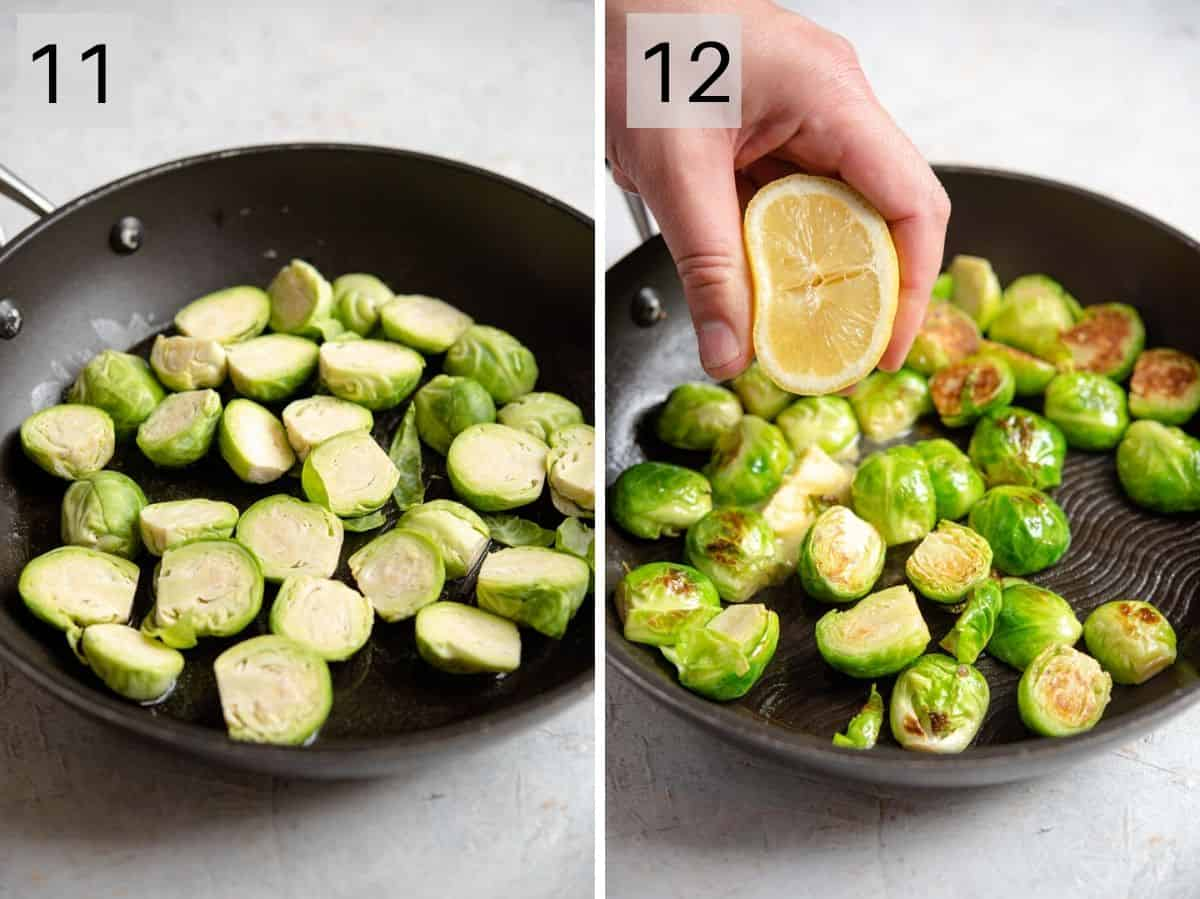 Two photos showing how to prepare Brussels sprouts