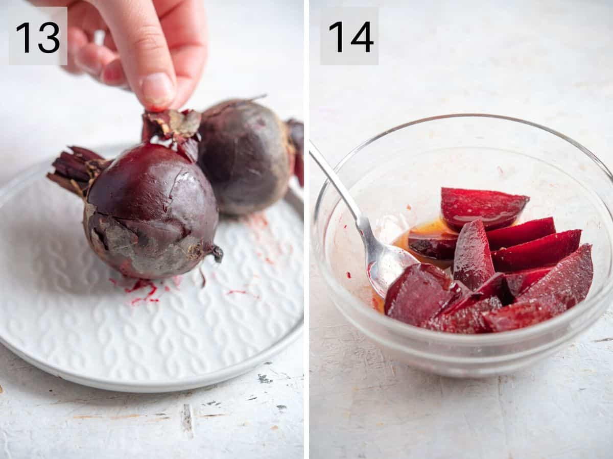 Two photos showing how to prepare beetroot