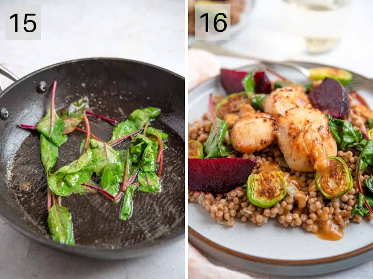 Two photos showing how to saute beet leaves and the finished dish
