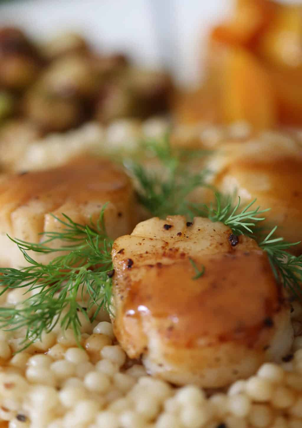A photo of a scallop on a plate with cous cous and dill.