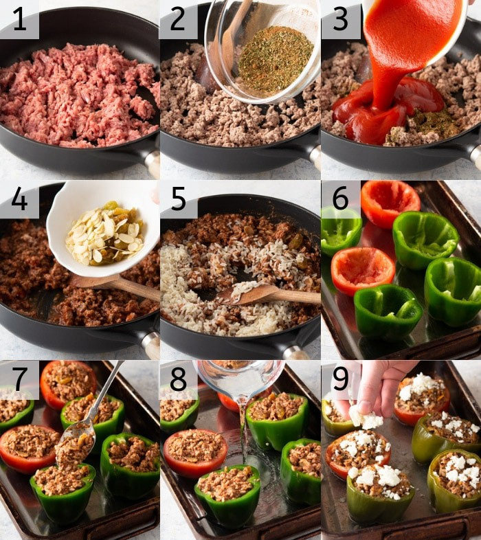 A photo showing steps on how to make stuffed tomatoes and peppers.