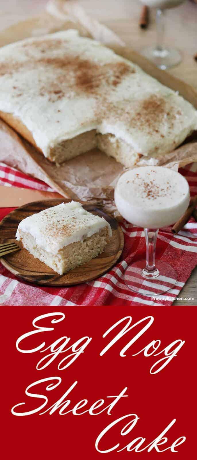 This moist cake contains layers and layers of creamy eggnog deliciousness. Infused with pudding and topped with a dreamy buttercream, this cake is perfect for any holiday get together!