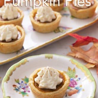 Homemade mini pumpkin pies on porcelain serving ware.