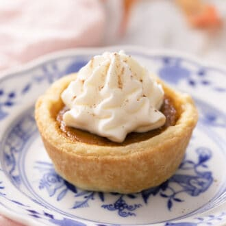 A mini pumpkin pie on a small blue and white plate.