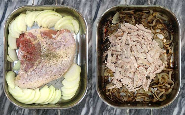 A turkey breadt with onions before and after baking.