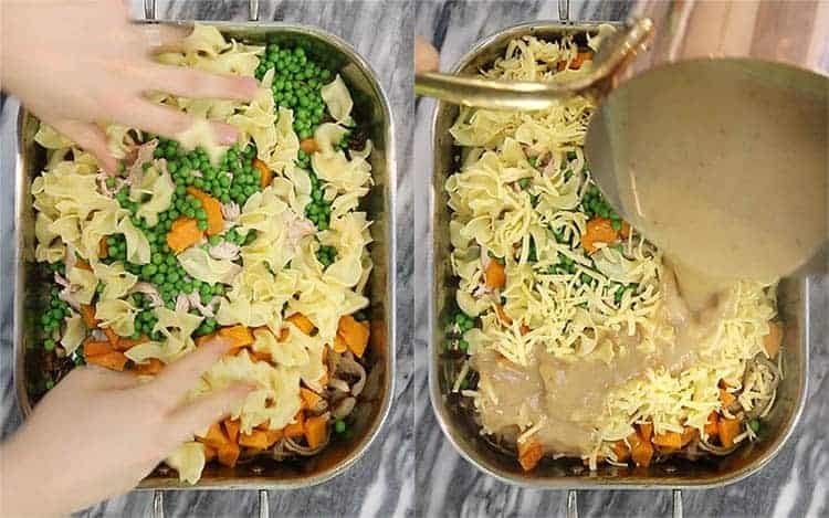 A turkey casserole getting assembled with sauce.