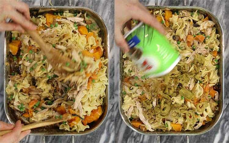 Turkey casserole getting fried onions placed on top