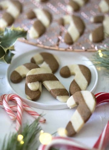 A photo of candy Cane Cookies on a plate.