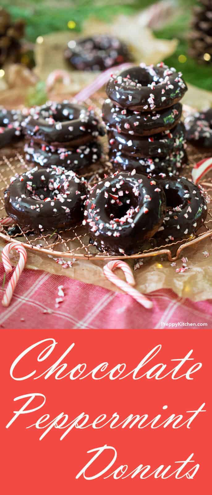 These moist and rich chocolate donuts are kissed with mint and covered in the most decadent ganache. These baked donuts are an easy one bowl treat you can whip up in no time flat.