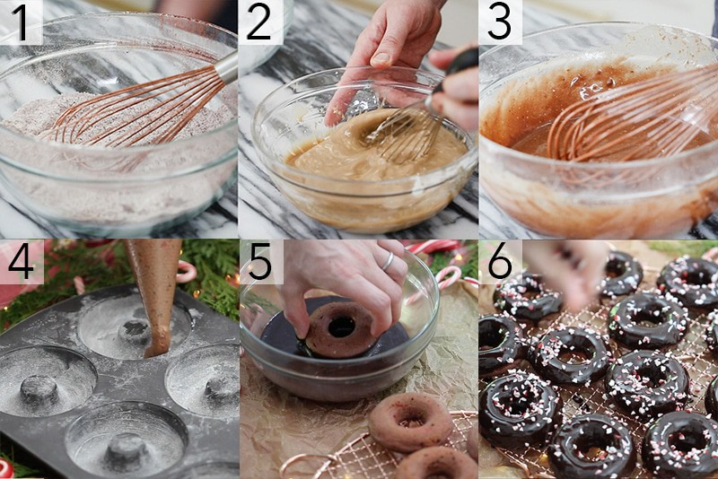 A photo grid showing the steps to make Chocolate Peppermint Donuts