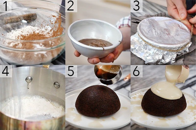 A photo showing steps on how to make Christmas pudding.