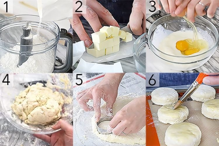 A photo showing steps on how to make classic scones.
