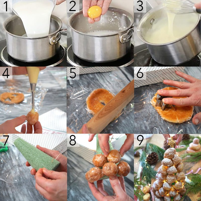 A photo grid showing the steps to make a donut hole croquembouche